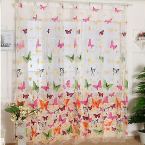 Butterfly Printed Tulle Voile Home Door Window Balcony Curtains For Living Room