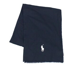 Polo Ralph Lauren Mens Scarf Blue One Size Embroidered Logo Frayed Edge $65 198