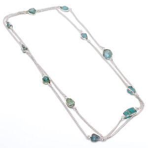 "Aquamarine Rough Gemstone Handmade 925 Sterling Silver Jewelry Necklace 36 """