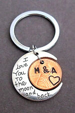 I Love You to the Moon and Back, Lucky Penny Keychain, Personalized Couples gift