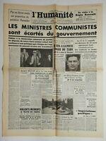 N673 La Une Du Journal L'humanité 6 mai 1947 les ministres communistes écarté