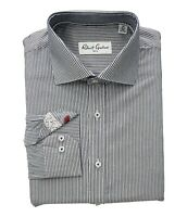 Robert Graham Men's 16.5 Lazo Navy Striped Long Sleeve Dress Shirt NEW with tags