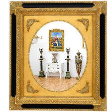 MIROIR BAROQUE 92x82cm STYLE LOUIS XV ROCOCO ROCAILLE CADRE EN BOIS DORE NOIR