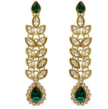 Indian Earrings Gold Kundan Jhumki Jhumka Indian Gold Green Earrings Bollywood