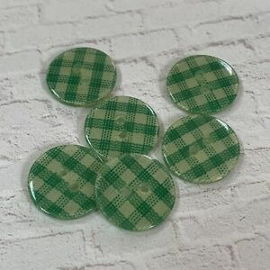 6 Vintage Green Gingham Layered Plastic 2 Hole Sewing Craft Buttons