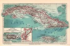Antique map. Cuba. Puerto Rico. c 1905