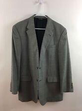 Jos A Bank 42R Houndstooth Silk Wool Blend 2 Button Blazer Sport Coat Gray Men's