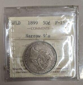 1899 Narrow 9's NEWFOUNDLAND Canada ICCS Graded Silver 50 Cents Coin (#C42)