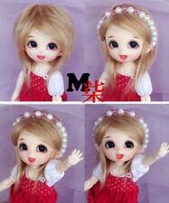 "3-4"" 9-10cm BJD fabric fur wig Flax golden for AE PukiFee lati 1/12 Doll"
