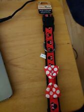 Disney Tails Minnie Mouse Bow Red/White Dog Collar Neck 20-30 in up 90-140 lbs