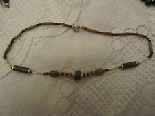 "Brown Wood Look Plastic Cylinders Necklace - 15.5"" long"