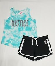 JUSTICE GIRL'S LOGO TIE-DYE SHIRT & SHORTS 2 PIECE SET SIZE 10 NWT