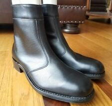 NEW Vintage IRON AGE Safety Toe Black Leather Ankle Beatle Boots Side Zip Sz 9 D