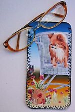 CHIHUAHUA DOG LONG HAIRED NEOPRENE GLASS CASE POUCH  SANDRA COEN ARTIST PRINT