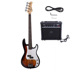 New GP Glarry Electric Bass Guitar Bass w AMP Sunset Bag Strap Amp Wire Plectrum