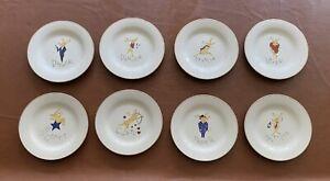 "Pottery Barn Reindeer Dessert / Salad Plates 8 1/2"" Set of 8 Collectors Edition"