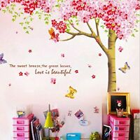 Rainbow Fox Large Pink Sakura Flower Cherry Blossom Tree Wall Sticker Decals PVC