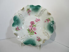 Vintage Procelain Bowl PS Germany Roses Raised Design Gold Accents Ruffled Edge