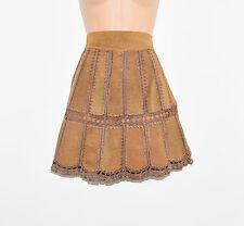 """Vintage Brown Leather A-Line Pencil Women's Short Mini Skirt Size UK6 L17"""""""