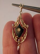 ANTIQUE 10KT GOLD VICTORIAN LAVALIER ENAMEL SEED PEARL PENDANT SIGNED SF