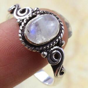 Rainbow Moonstone 925 Silver Plated Handmade Gemstone Ring of US Size 8.5 Ethnic