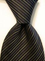 GIORGIO ARMANI Collezioni Men's Silk Necktie ITALY Luxury STRIPED Blue/Tan EUC