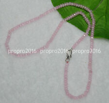 20'' Fine 2x4mm Pink Jade Faceted Roundel Gems Beads Necklace Silver Clasp PN771
