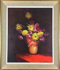 Peinture HST nature morte florale signé Jean Berthier «Bouquet d'automne»1975