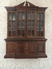 Antique Miniature DOLLHOUSE Decorative CHINA Cabinet Wood VINTAGE A214