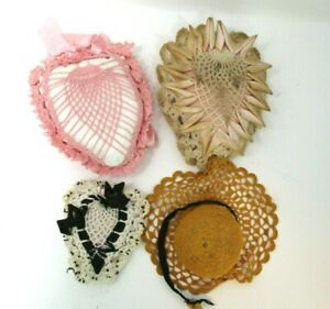 Vintage Pin Cushions Lot Heart Crocheted with Ribbons Pink Purple Orange