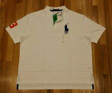 Polo Ralph Lauren Men Pony #3 Polo Shirt Big& Tall Mesh White Sz 2XLT THESPOT917