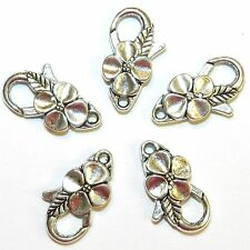 MX7207L Antique Silver Large 25m Flower Design Lobster Claw Focal Clasp 25pc