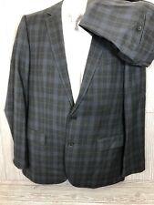 Hugo Boss Alko/Heise Grey Purple Plaid Wool Cotton Suit 42 Long 36x35 (t6)