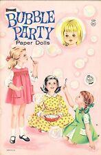 Vntg 1970S Bubble Party Paper Dolls Rare Uncut Hd Lasr Repro No.1 Selr Free S&H