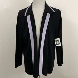 NWT Exclusively Misook Womens Cardigan Black Purple Open Front Sweater Sz 3X