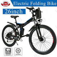 26'' Electric Bike Foldable Mountain Bicycle Ebike 21 Speed 36V with Li-Battery-