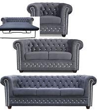 Chesterfield Sofa 3 + 2er Sitzer + Sessel + BETT Couch STOFF GRAPHIT Büromöbel !