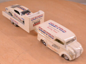 Hot Wheels Customized Dairy Delivery Van + Trailer + 69 Ford Torino Talledega