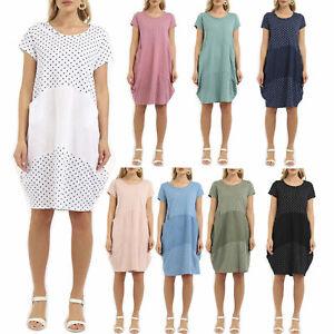 Womens Italian Polka Dot Lagenlook Panelled Jersey Cotton Two Pocket Tunic Dress