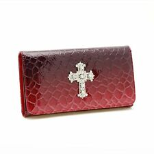 New Womens Wallet Faux Leather Classic Snake Skin Cross Checkbook Wallet Red