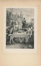 ANTIQUE DINNER WINE ELIZABETHAN VERSAILLES COSTUME ORCHESTRA PARTY ETCHING PRINT