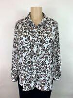 Ann Taylor LOFT Shirt Blouse women white pink floral long sleeve sz large petite