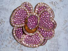 Exquisite JOAN RIVERS PINK Pave' Brooch w/Brilliant Crystals New in pouch w/Card