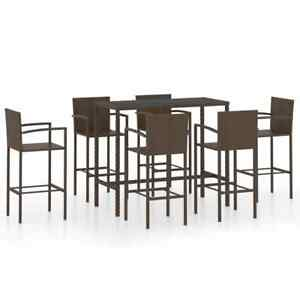 7 Piece Garden Bar Set Poly Rattan Brown Outdoor Patio Furniture Table chairs