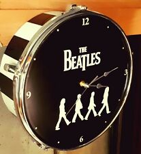 THE BEATLES  upcycled Abbey Road Drum Clock