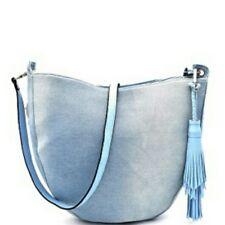 Light Blue Denim Cross Body Tassel Accent Large Handbag