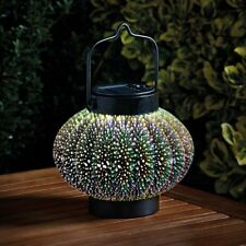 Smart Garden Silver Glass Holographic Cosmos Lantern Solar Light Ornament Handle