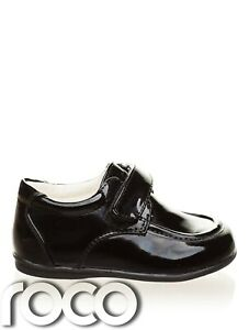 NEW BABY BOYS SEVVA BLACK PATENT PARTY/FORMAL SHOES EASY FASTENING SIZE 1 REBORN