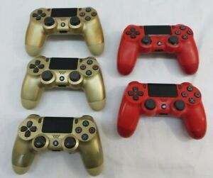 Lot of 5 Sony Playstation 4 PS4 Wireless Controllers Parts/Repair Gold & Red