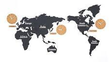 Large World Map Wall Clock Wooden DIY Sticker Puzzle Decor Interior Gift - Black
